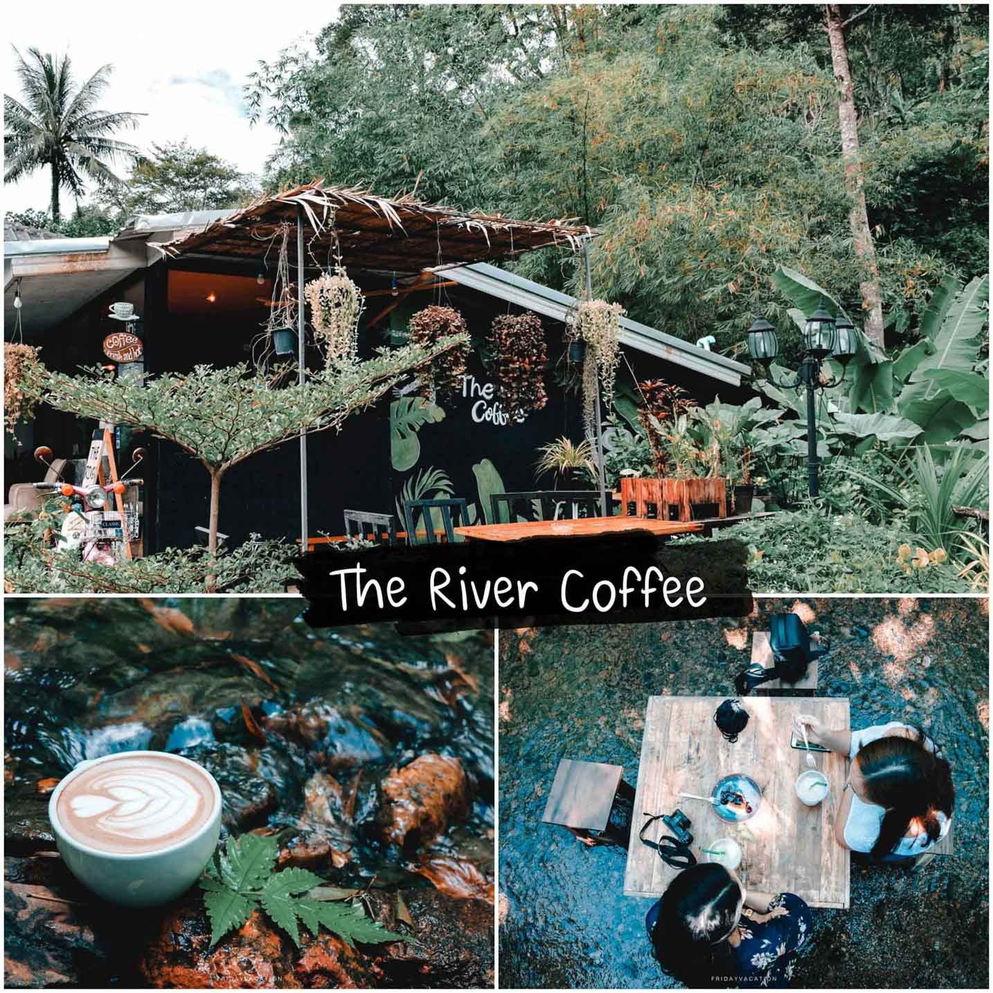 The river coffee บรรยากาศคือดีมากครับ ร้านกาแฟสวยๆริมลำธาร ซึ่งเป็นลำธารเล็กๆ น้ำไม่เยอะ  แต่น้ำในลำธารเย็นสบายมากๆ นั่งแช่น้ำจิบกาแฟ หรือกินเค้กแบบชิลๆได้สบายๆเลยครับ  แถมร้านข้างๆก็เป็นร้านอาหารอีสานรสชาติอร่อยด้วย สามารถสั่งมาทานด้วยกันได้ครับภูเก็ต,ที่พัก,โรงแรม,รีสอร์ท,สถานที่ท่องเที่ยว,ของกิน,จุดเช็คอิน,ที่เที่ยว,จุดถ่ายรูป