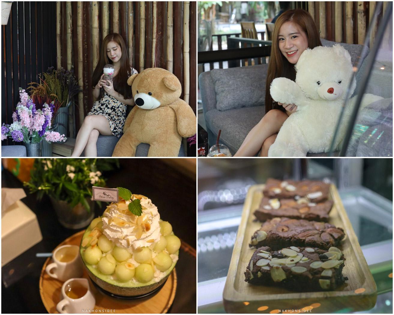 ในคาเฟ่มีตุ๊กตาน๊อนหมีน่ารักๆเยอะบอกเลยยที่พัก,ลานสกา,นครศรีธรรมราช,โรงแรม,รีสอร์ท,ริมลำธาร,หมูกะทะ