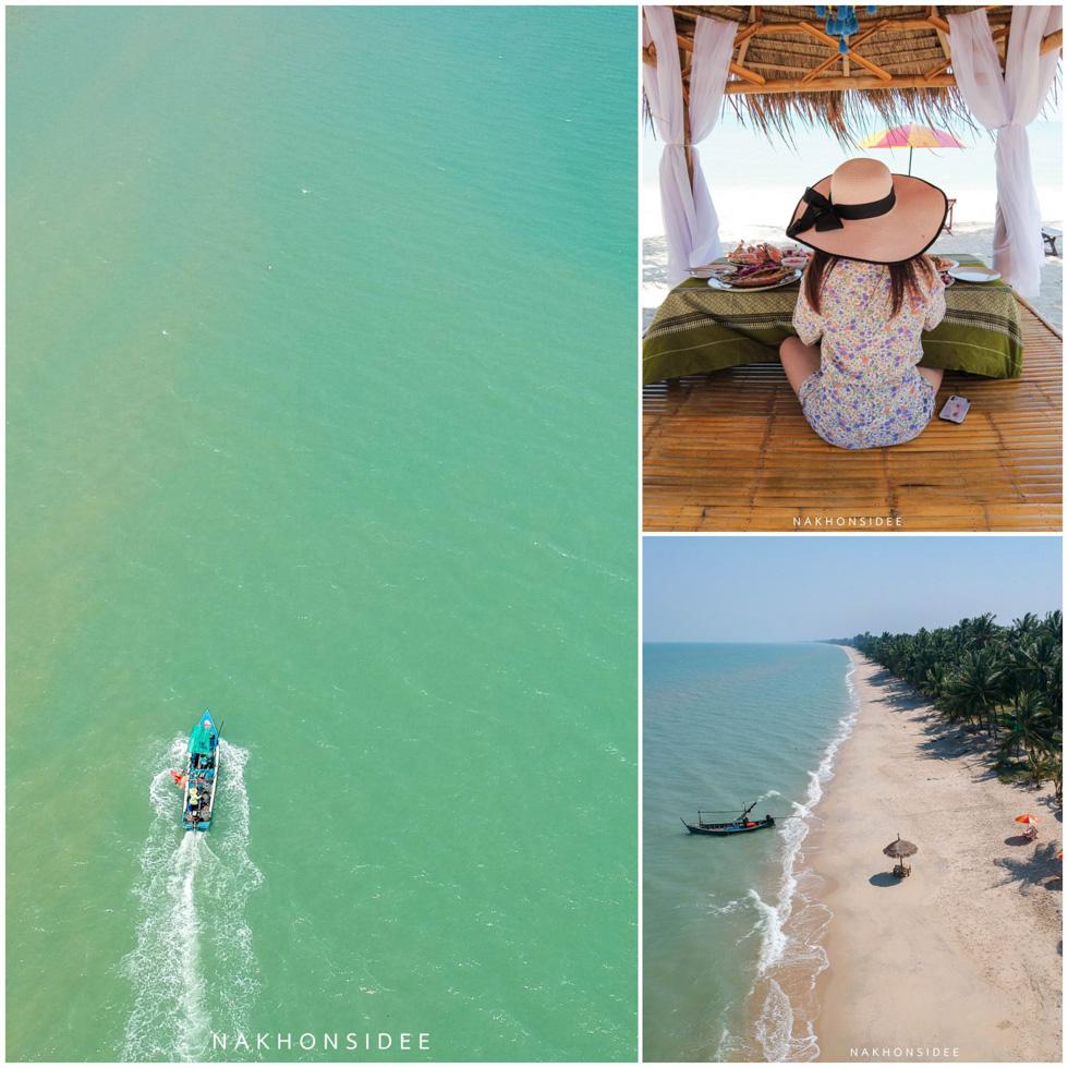 นั่งกินชิวๆ-ริมหาด-มีเรือแล่นผ่านมาด้วยย  ที่พัก,สิชล,ใจดีรีสอร์ท,สุดสวย,วิวทะเล,สไตล์เรือนไทย