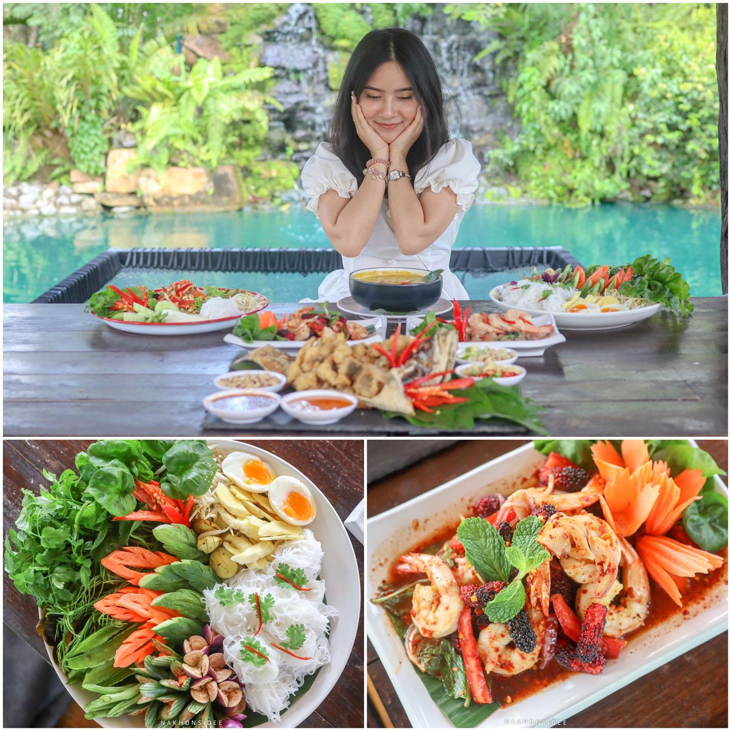 อาหารคือมีหลายเมนูมาก-เมนูเด็ดๆเพียบเลยแหละ-แต่ละเมนูมือการผสมผสานในแบบของไร่เอง-ด้วยการนำผักผลไม้-Organic-มาใส่ในอาหาร-รสชาติดีเลยทีเดียวว  ไร่ธาราบดินทร์,ร้านอาหาร,คาเฟ่,กลางป่า,นครศรี,น้ำสีฟ้า,อร่อย