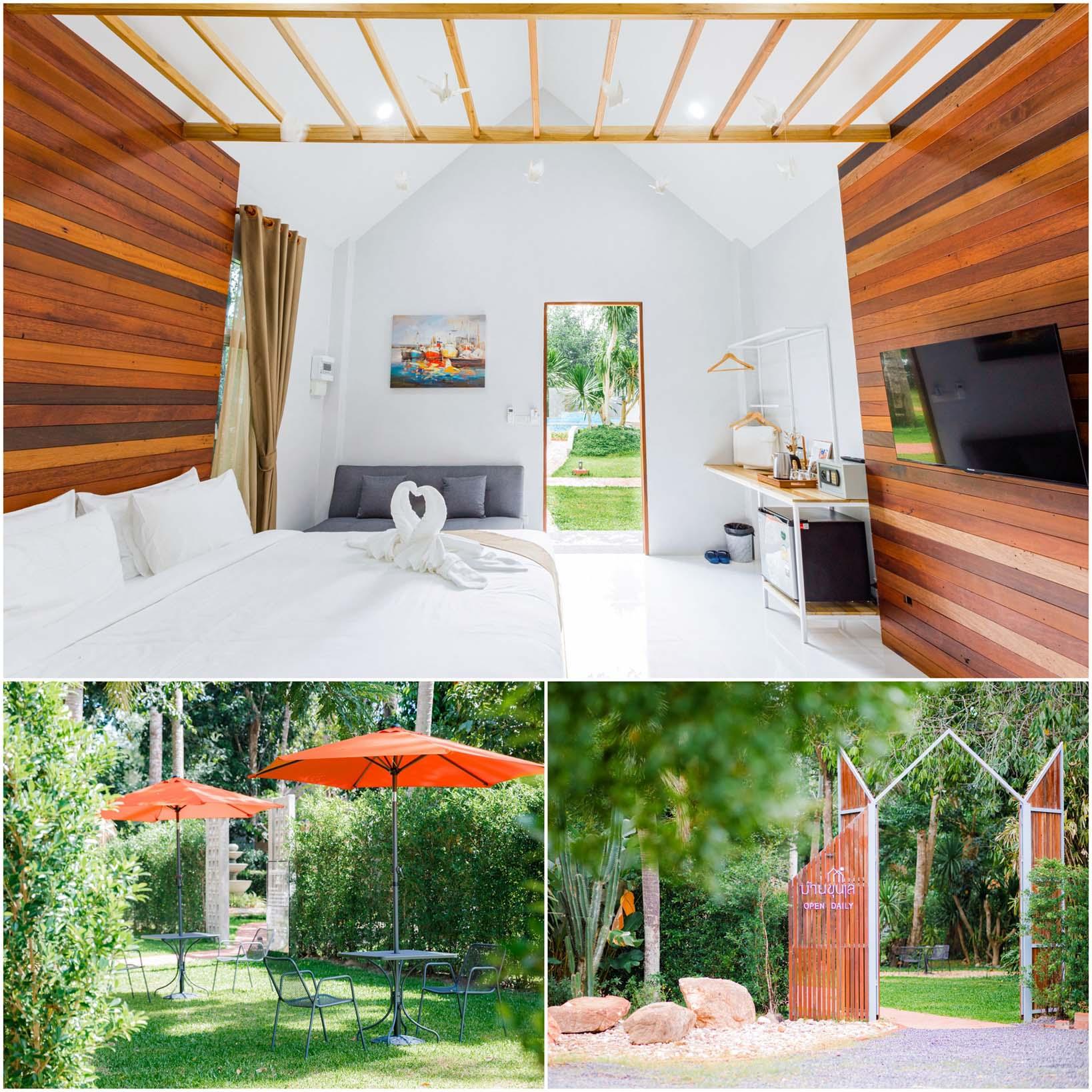 ที่พักวิวสีเขียว-ออกแบบเรียบง่ายมินิมอล-ลอฟต์หน่อยๆ-หญ้าสีเขียวนุ่ม-ปูเสื่อนั่งชิวก็ได้เลย  บ้านขุนเล,ขุนเลคอฟฟี่,ลานสกา,นครศรี,ที่พักเปิดใหม่,รีสอร์ท